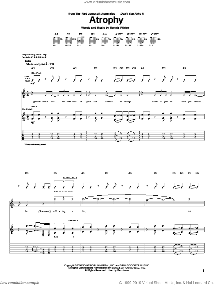 Atrophy sheet music for guitar (tablature) by The Red Jumpsuit Apparatus and Ronnie Winter, intermediate skill level