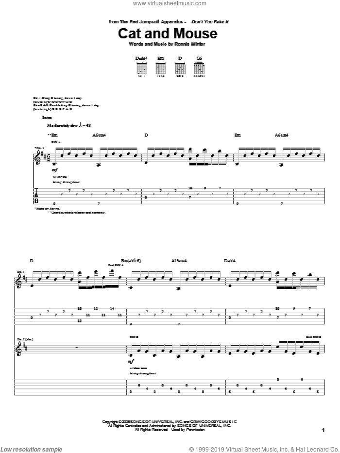 Cat And Mouse sheet music for guitar (tablature) by The Red Jumpsuit Apparatus, intermediate. Score Image Preview.