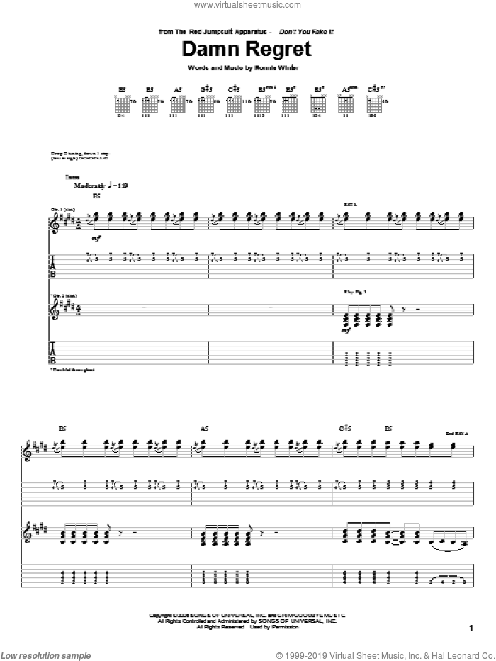 Damn Regret sheet music for guitar (tablature) by The Red Jumpsuit Apparatus and Ronnie Winter, intermediate skill level