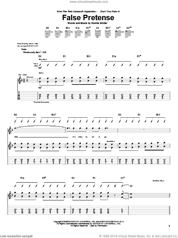 False Pretense sheet music for guitar (tablature) by The Red Jumpsuit Apparatus and Ronnie Winter, intermediate. Score Image Preview.