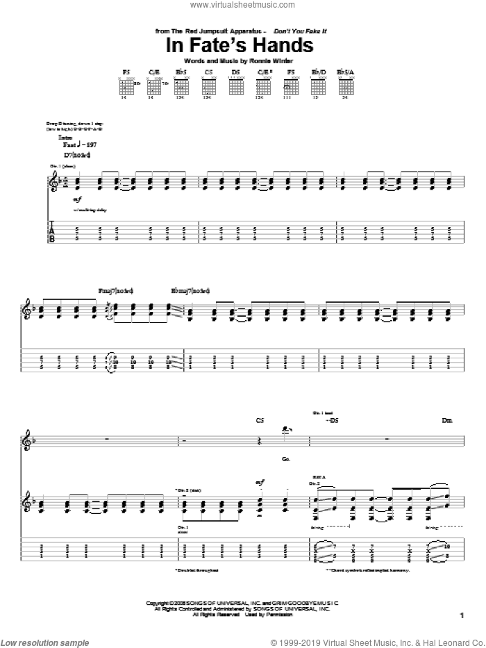 In Fate's Hands sheet music for guitar (tablature) by The Red Jumpsuit Apparatus and Ronnie Winter, intermediate skill level