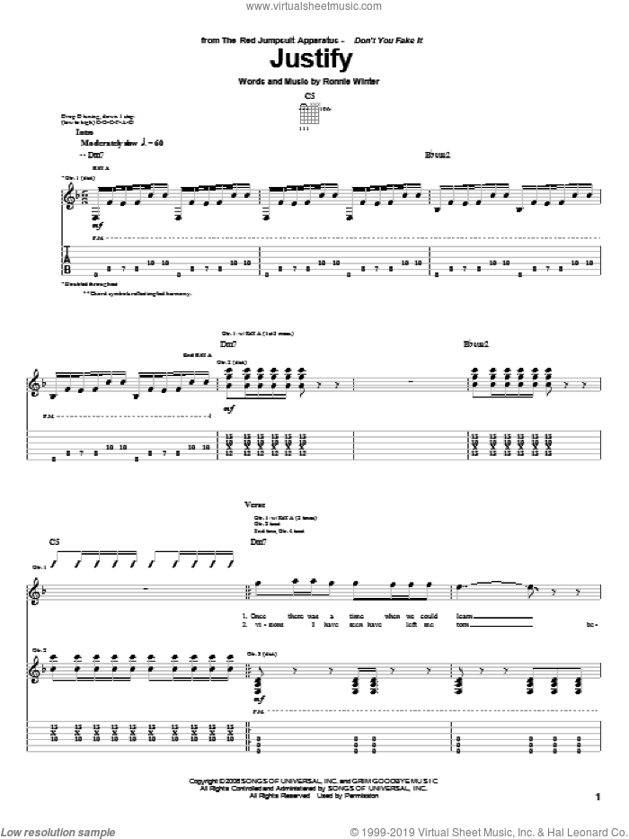 Justify sheet music for guitar (tablature) by The Red Jumpsuit Apparatus and Ronnie Winter, intermediate skill level