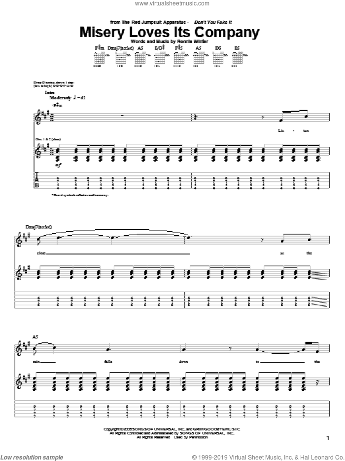 Misery Loves Its Company sheet music for guitar (tablature) by The Red Jumpsuit Apparatus and Ronnie Winter, intermediate skill level