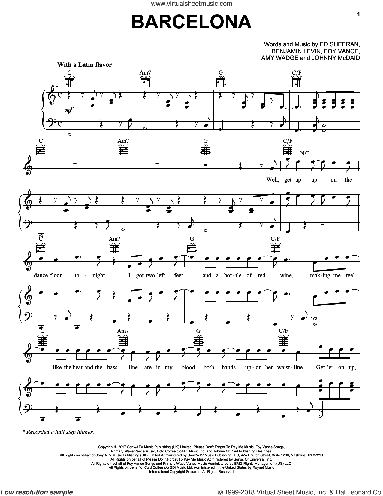 Barcelona sheet music for voice, piano or guitar by Ed Sheeran, Amy Wadge, Benjamin Levin, Foy Vance and Johnny McDaid, intermediate skill level