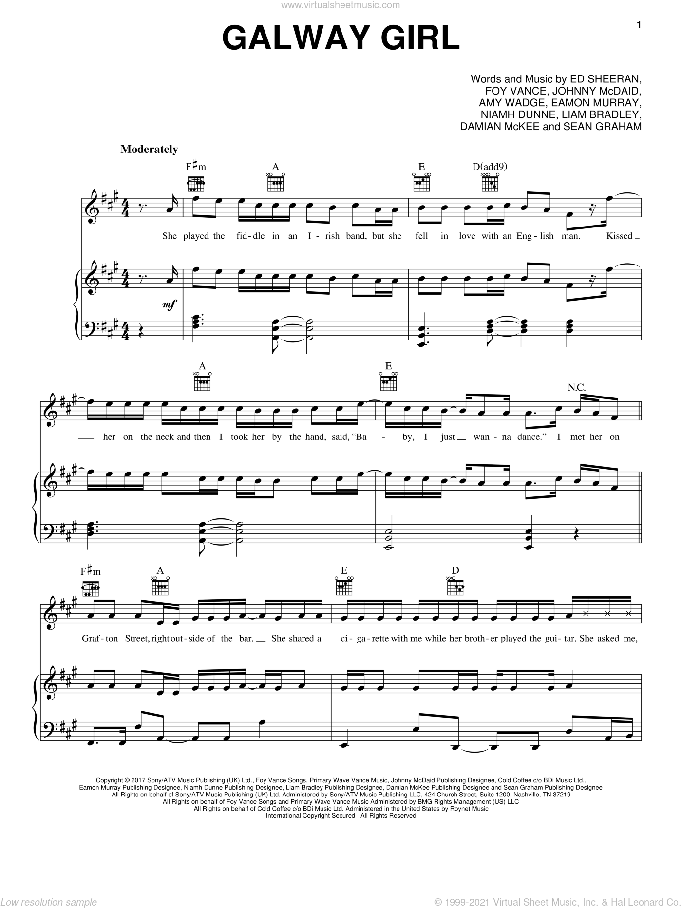 Galway Girl sheet music for voice, piano or guitar by Ed Sheeran, Amy Wadge, Damian McKee, Eamon Murray, Foy Vance, Johnny McDaid, Liam Bradley, Niamh Dunne and Sean Graham, intermediate skill level