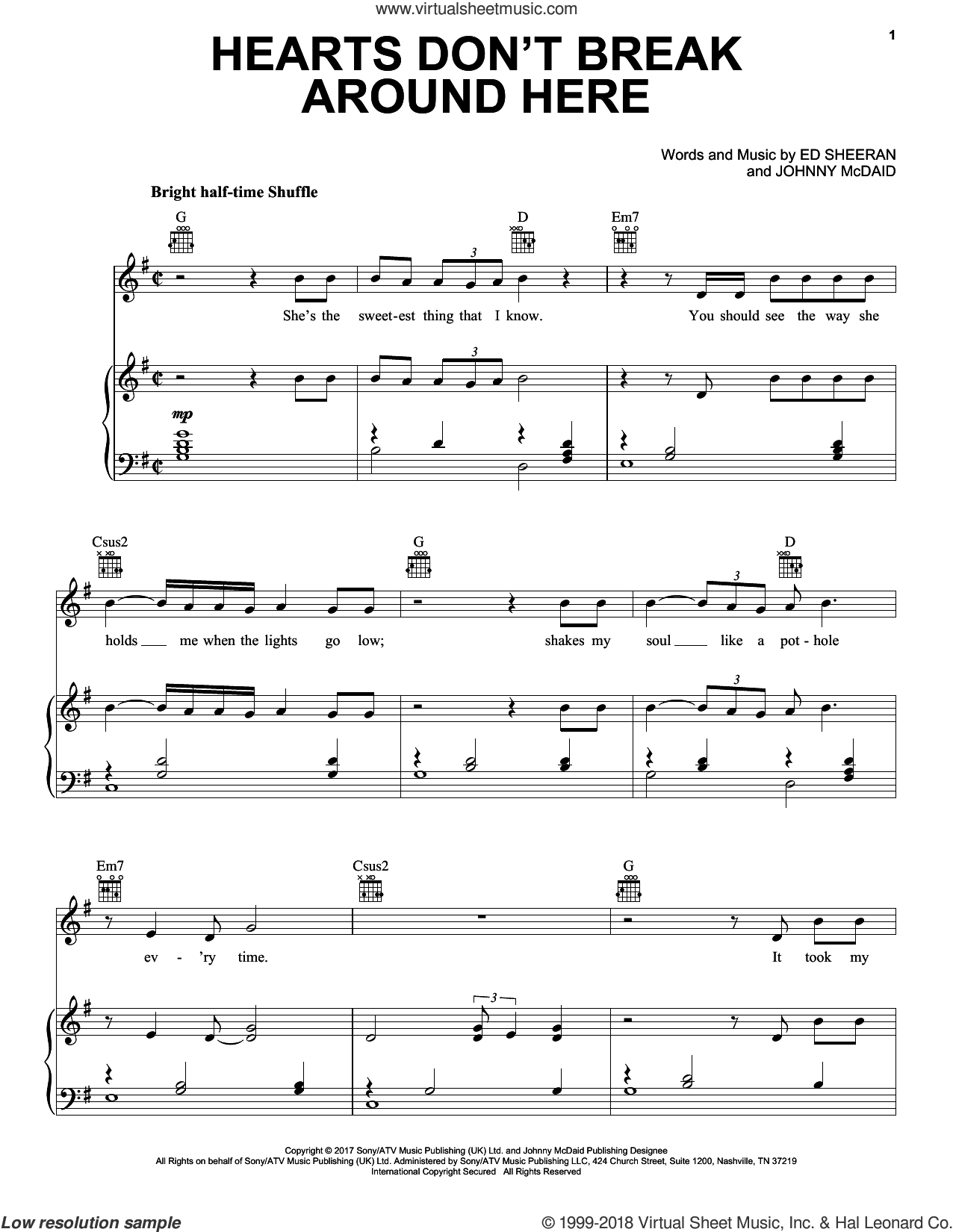 Hearts Don't Break Around Here sheet music for voice, piano or guitar by Ed Sheeran and Johnny McDaid, intermediate skill level