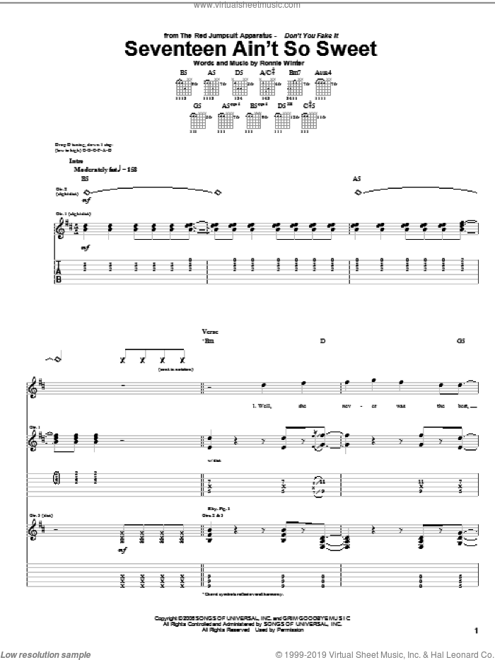 Seventeen Ain't So Sweet sheet music for guitar (tablature) by The Red Jumpsuit Apparatus and Ronnie Winter, intermediate skill level