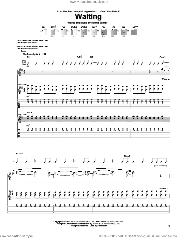 Waiting sheet music for guitar (tablature) by Ronnie Winter. Score Image Preview.