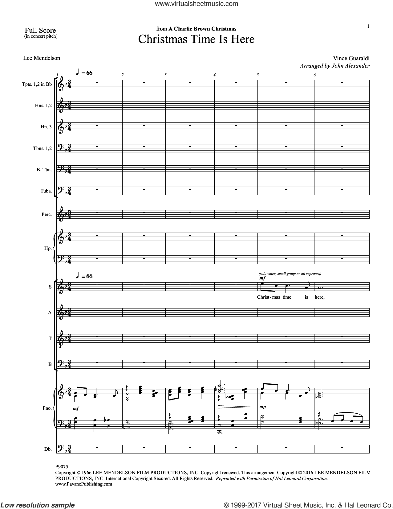 Christmas Time Is Here (COMPLETE) sheet music for orchestra/band by Vince Guaraldi, John Alexander and Lee Mendelson, intermediate. Score Image Preview.