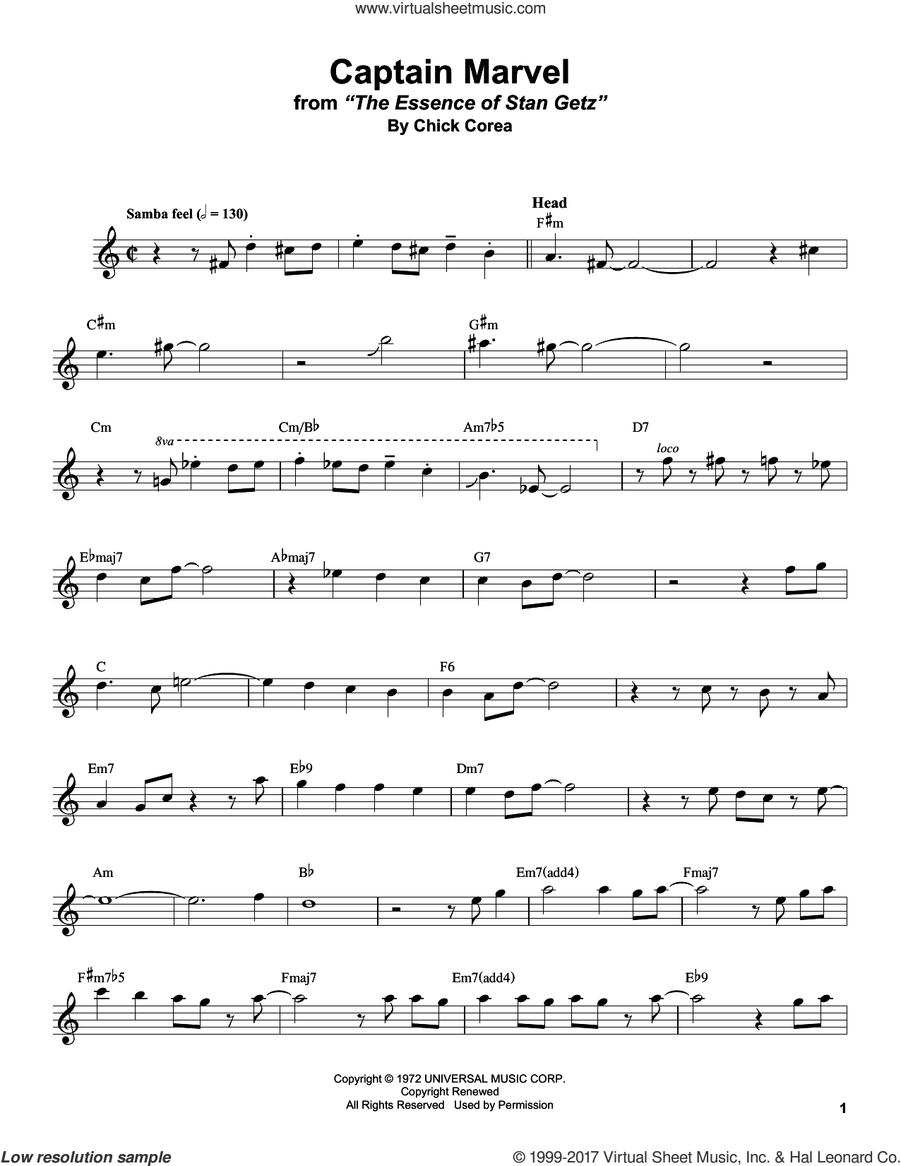 Captain Marvel sheet music for tenor saxophone solo (transcription) by Stan Getz and Chick Corea, intermediate tenor saxophone (transcription). Score Image Preview.