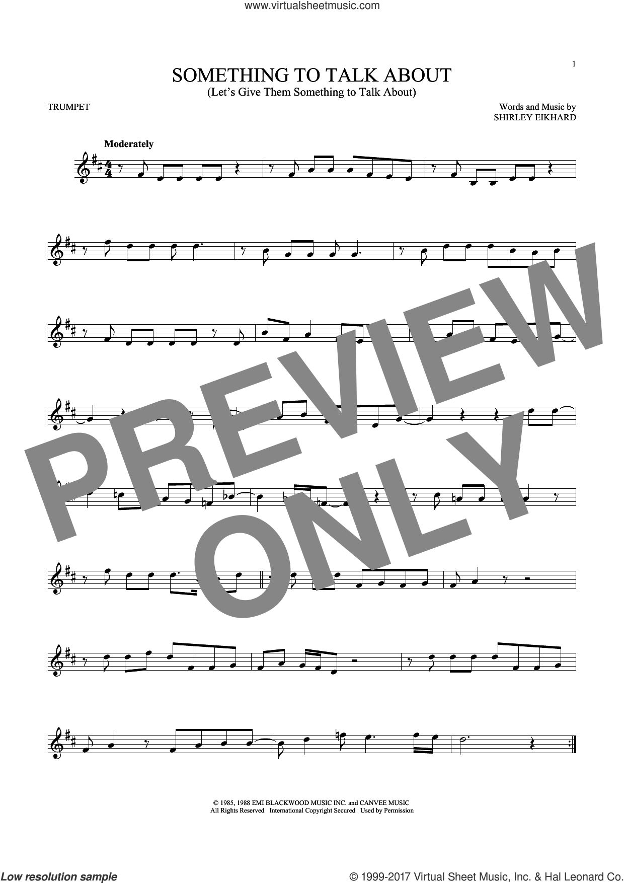 Something To Talk About (Let's Give Them Something To Talk About) sheet music for trumpet solo by Bonnie Raitt. Score Image Preview.