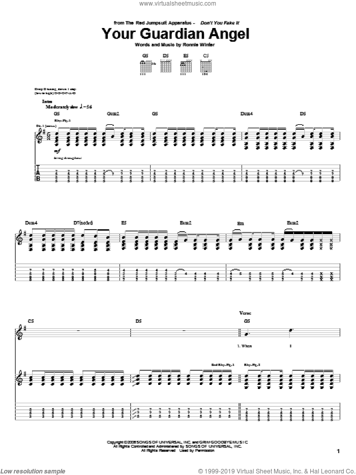 Your Guardian Angel sheet music for guitar (tablature) by The Red Jumpsuit Apparatus and Ronnie Winter, intermediate skill level