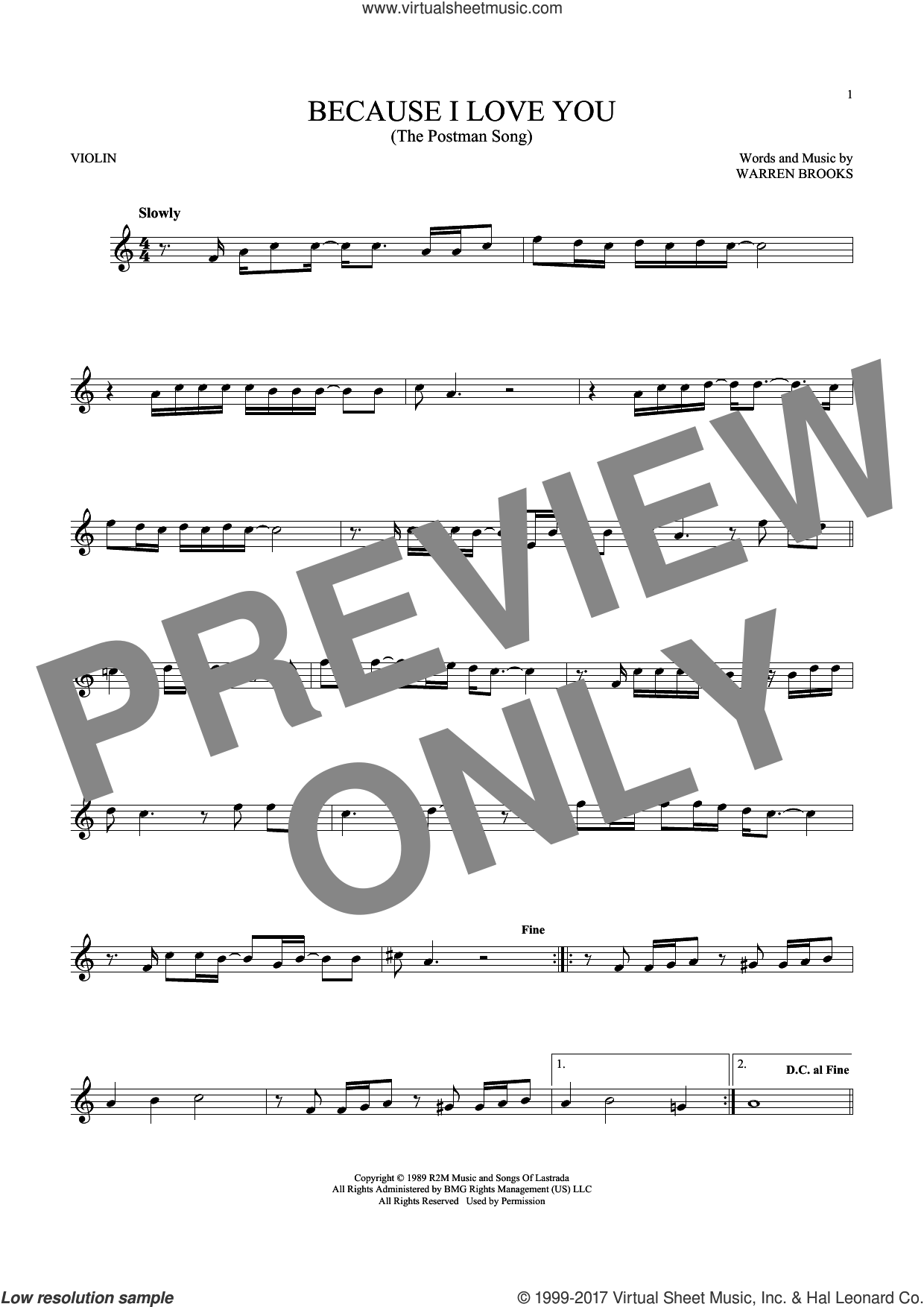 Because I Love You (The Postman Song) sheet music for violin solo by Stevie B and Warren Brooks, intermediate skill level