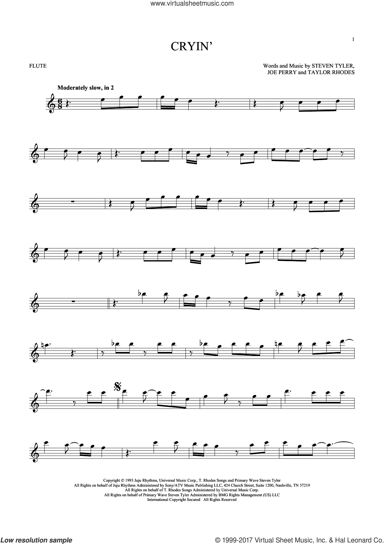 Cryin' sheet music for flute solo by Aerosmith, Joe Perry, Steven Tyler and Taylor Rhodes, intermediate skill level