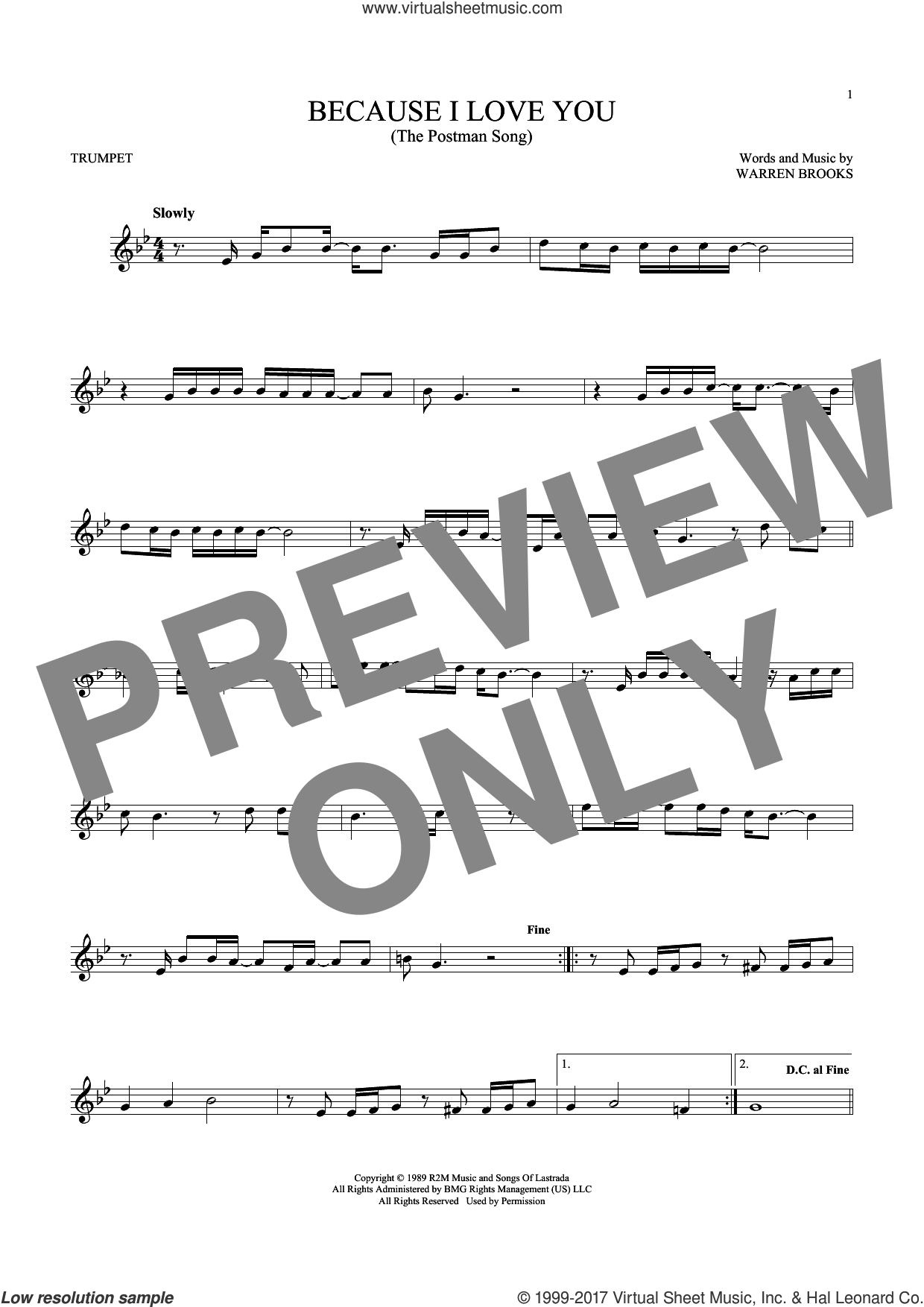 Because I Love You (The Postman Song) sheet music for trumpet solo by Stevie B and Warren Brooks, intermediate skill level