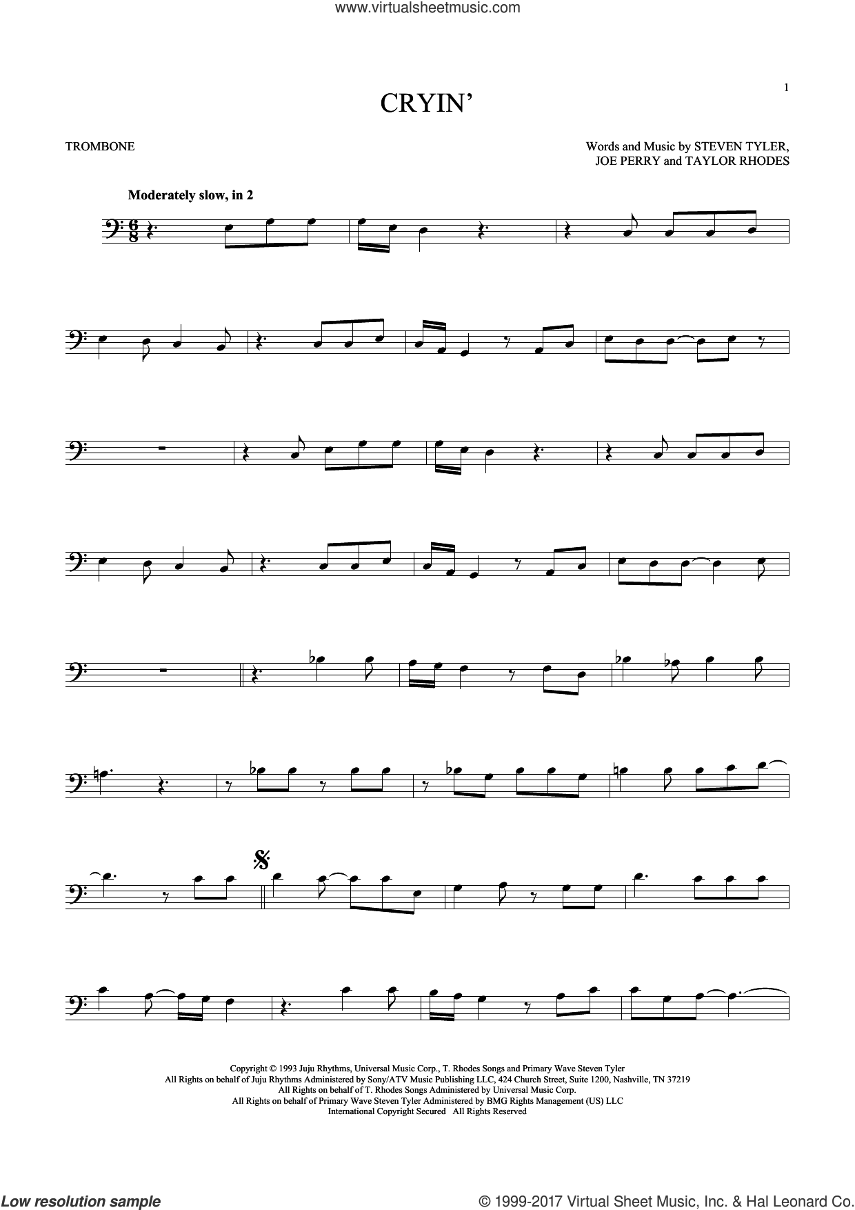 Cryin' sheet music for trombone solo by Aerosmith, Joe Perry, Steven Tyler and Taylor Rhodes, intermediate skill level