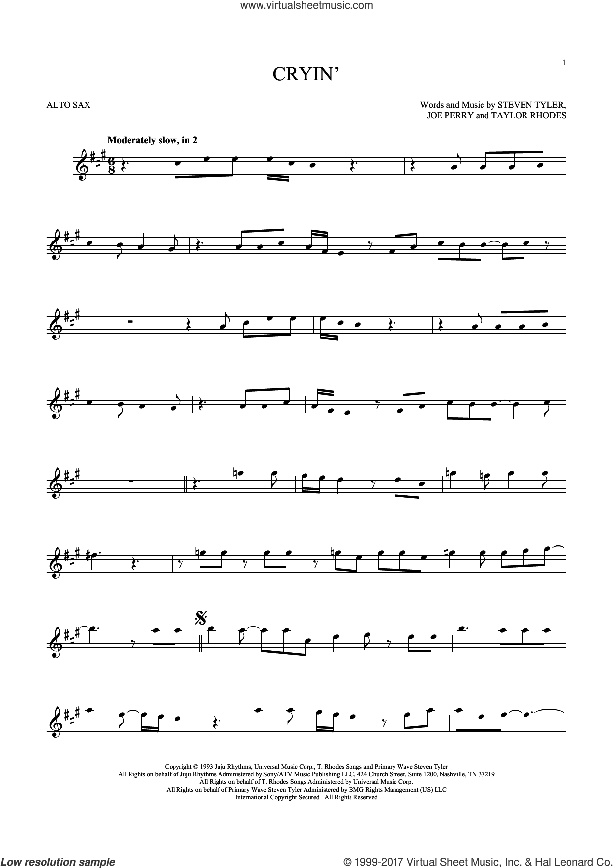 Cryin' sheet music for alto saxophone solo by Aerosmith, Joe Perry, Steven Tyler and Taylor Rhodes, intermediate skill level