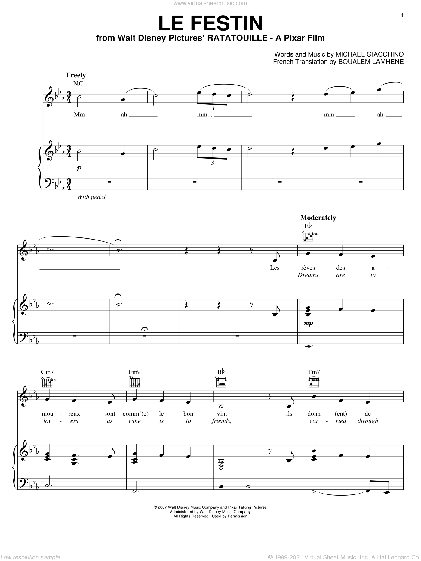 Le Festin sheet music for voice, piano or guitar by Camille, Ratatouille (Movie), Boualem Lamhene and Michael Giacchino, intermediate skill level