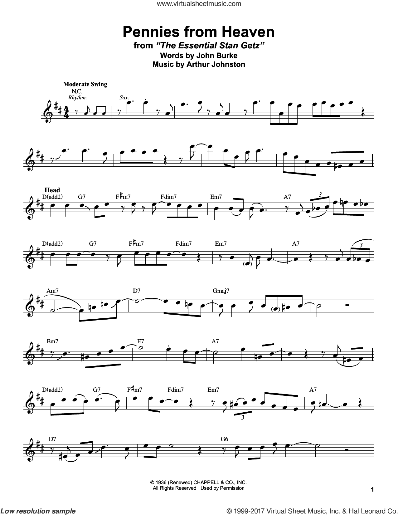 Pennies From Heaven sheet music for tenor saxophone solo (transcription) by Stan Getz, Arthur Johnston and John Burke, intermediate tenor saxophone (transcription)