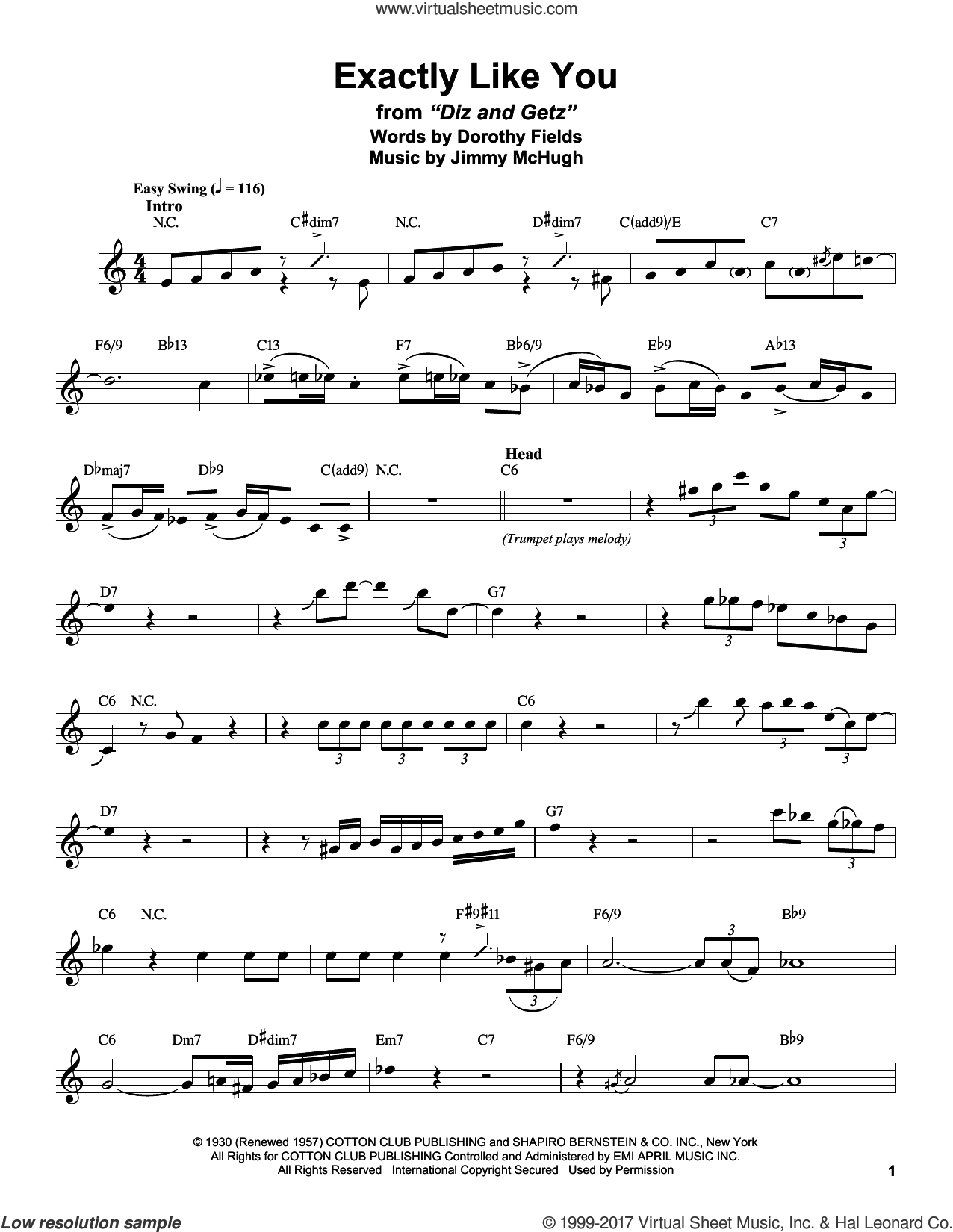 Exactly Like You sheet music for tenor saxophone solo (transcription) by Dorothy Fields, Stan Getz and Jimmy McHugh. Score Image Preview.