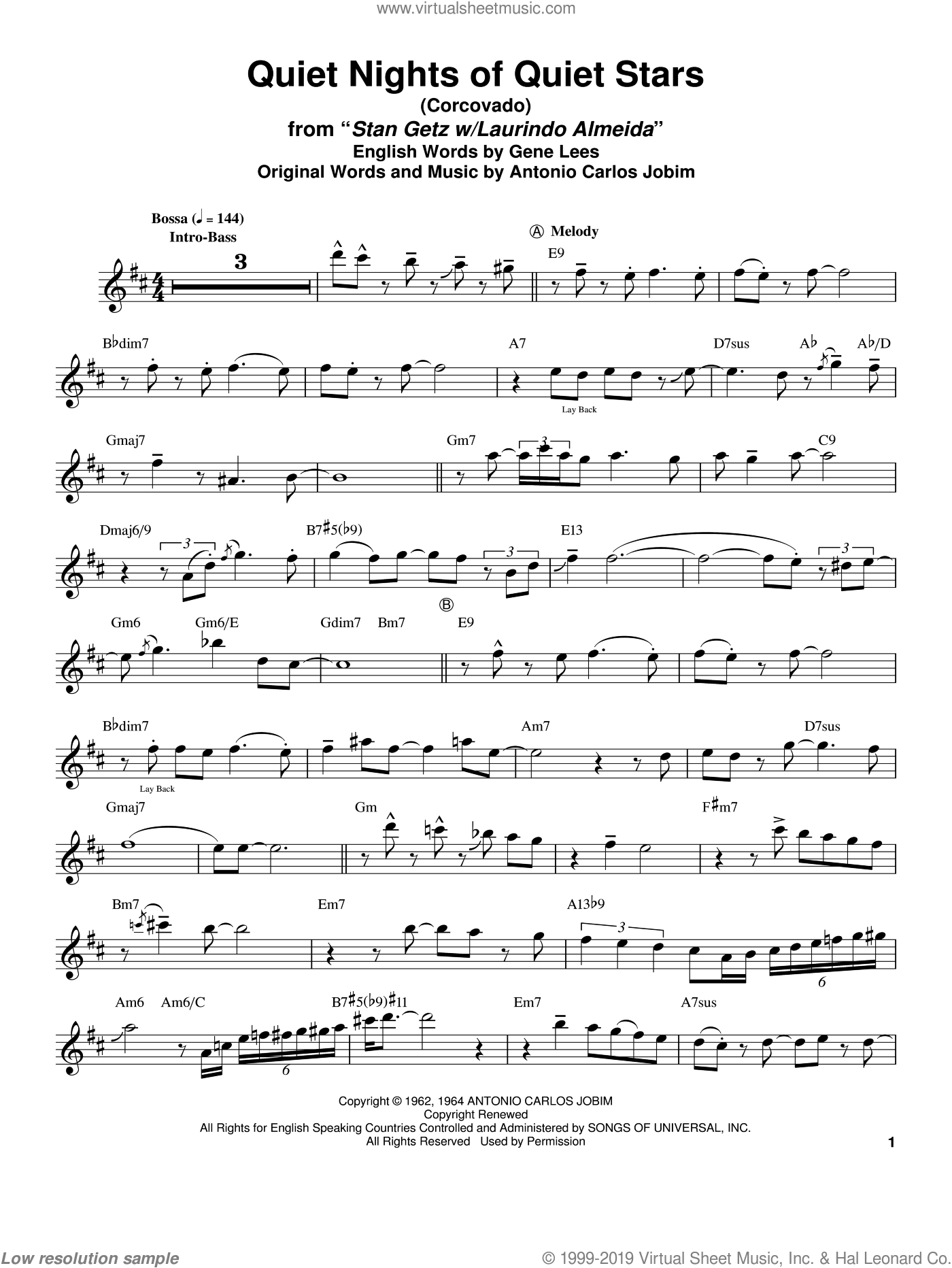 Quiet Nights Of Quiet Stars (Corcovado) sheet music for tenor saxophone solo (transcription) by Stan Getz, Andy Williams, Antonio Carlos Jobim and Eugene John Lees, intermediate tenor saxophone (transcription)