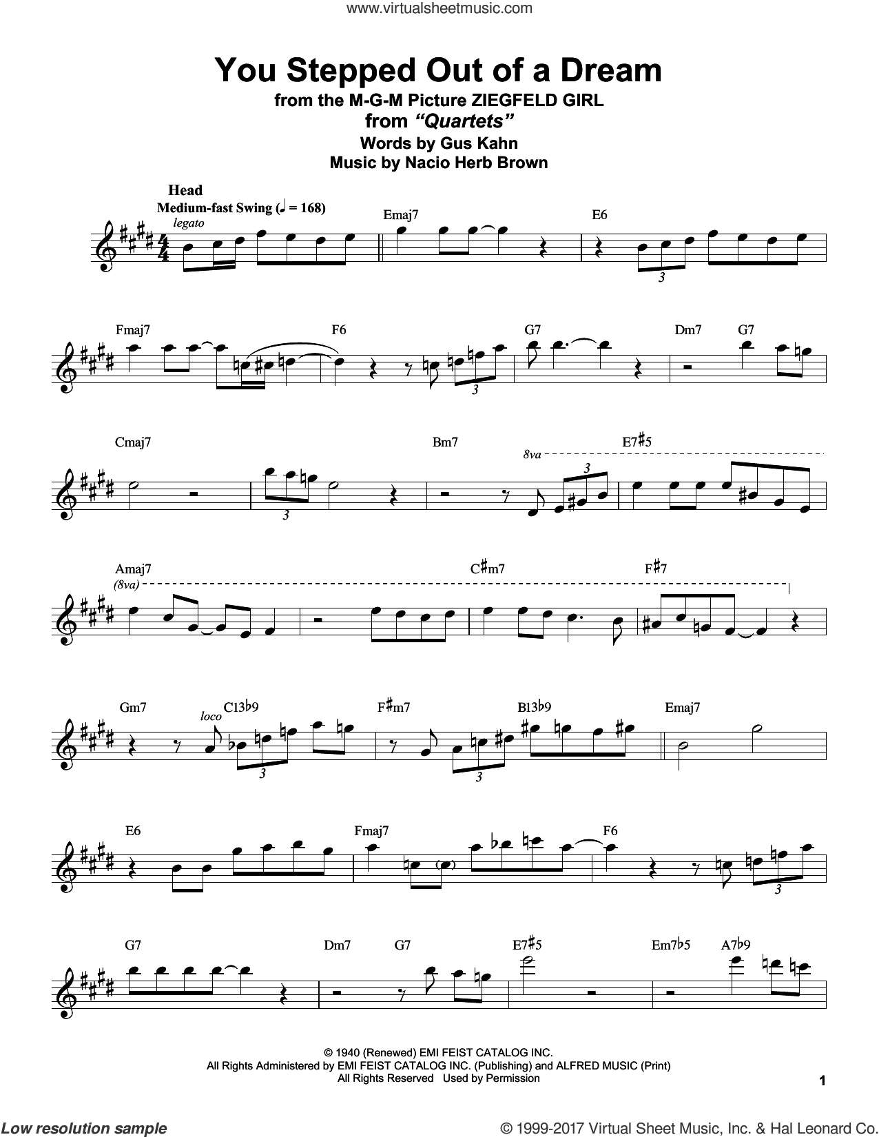 You Stepped Out Of A Dream sheet music for tenor saxophone solo (transcription) by Stan Getz, Gus Kahn and Nacio Herb Brown, intermediate tenor saxophone (transcription)