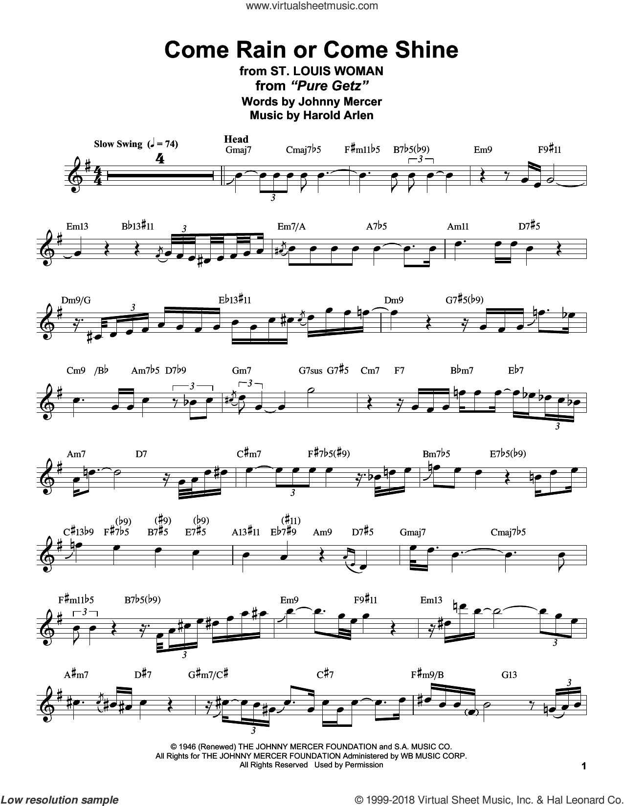 Come Rain Or Come Shine sheet music for tenor saxophone solo (transcription) by Stan Getz, Harold Arlen and Johnny Mercer, wedding score, intermediate tenor saxophone (transcription)