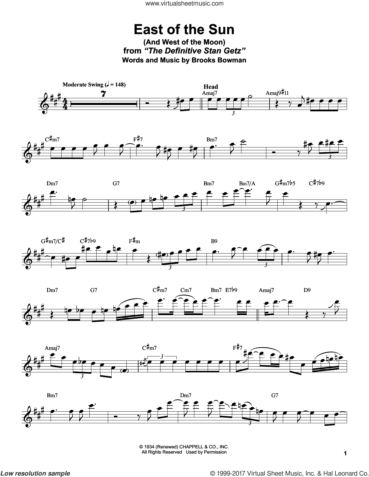 East Of The Sun (And West Of The Moon) sheet music for tenor saxophone solo (transcription) by Stan Getz and Brooks Bowman. Score Image Preview.
