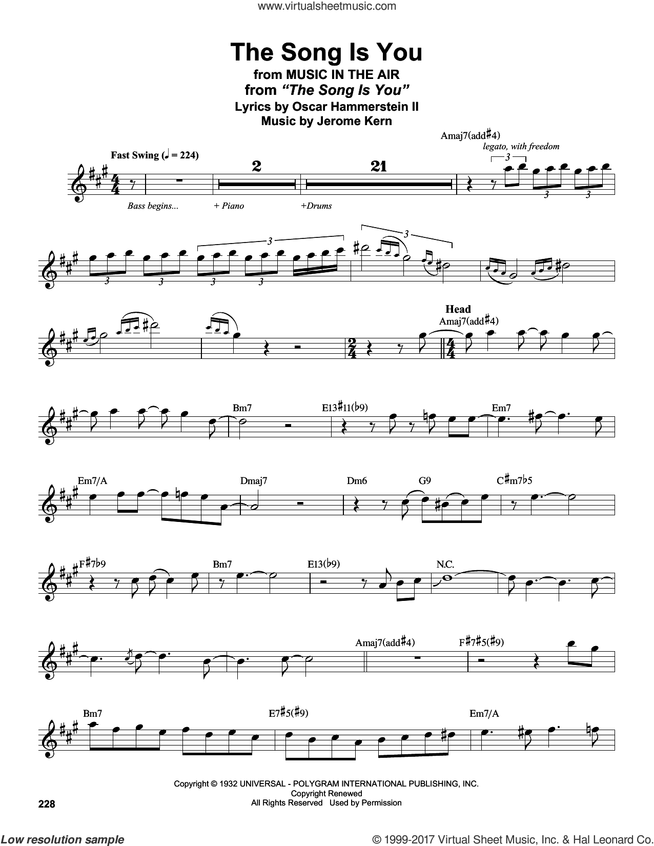The Song Is You sheet music for tenor saxophone solo (transcription) by Stan Getz, Jerome Kern and Oscar II Hammerstein, intermediate tenor saxophone (transcription)