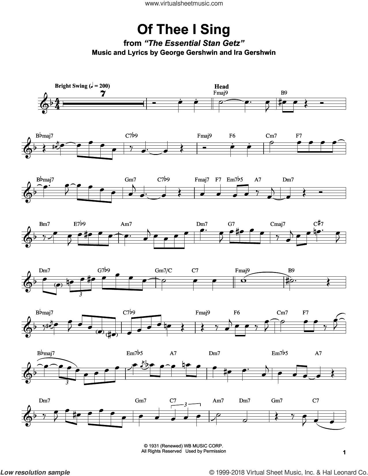 Of Thee I Sing sheet music for tenor saxophone solo (transcription) by Stan Getz, George Gershwin and Ira Gershwin, intermediate tenor saxophone (transcription)