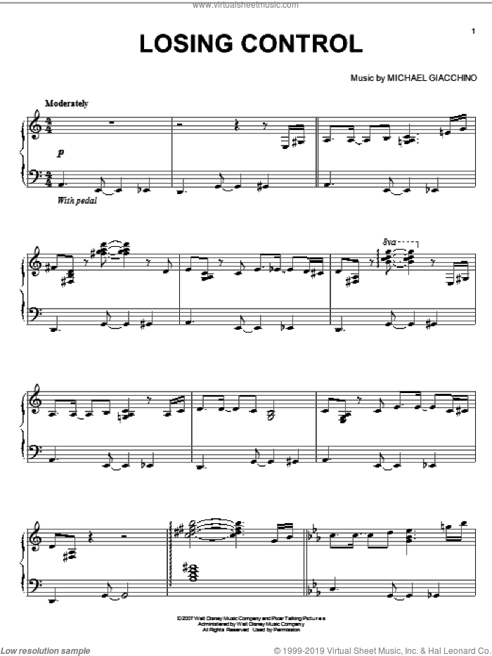 Losing Control sheet music for piano solo by Michael Giacchino and Ratatouille (Movie), intermediate skill level