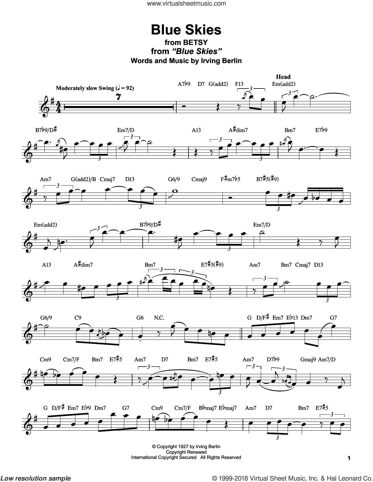 Blue Skies sheet music for tenor saxophone solo (transcription) by Stan Getz, Willie Nelson and Irving Berlin, intermediate tenor saxophone (transcription)