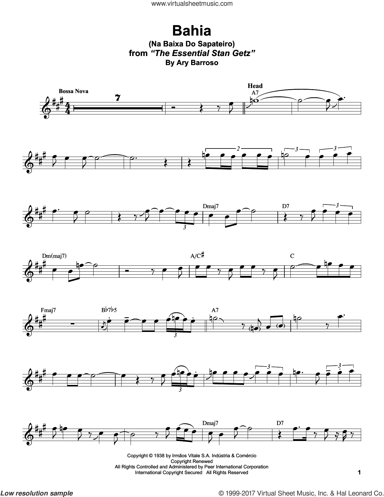 Bahia (Na Baixa Do Sapateiro) sheet music for tenor saxophone solo (transcription) by Stan Getz, Charlie Byrd and Ary Barroso, intermediate tenor saxophone (transcription)