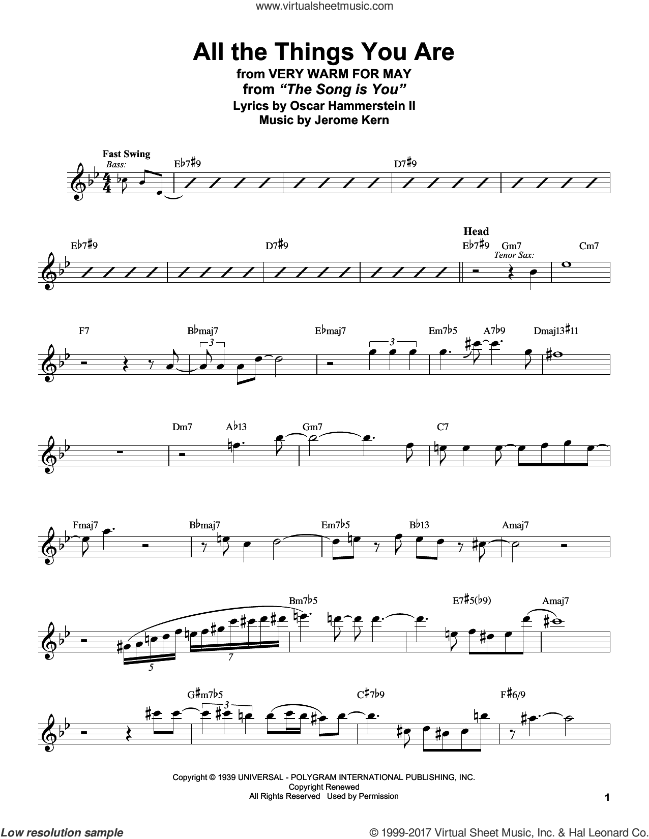 All The Things You Are sheet music for tenor saxophone solo (transcription) by Stan Getz, Jack Leonard with Tommy Dorsey Orchestra, Jerome Kern and Oscar II Hammerstein, intermediate tenor saxophone (transcription)
