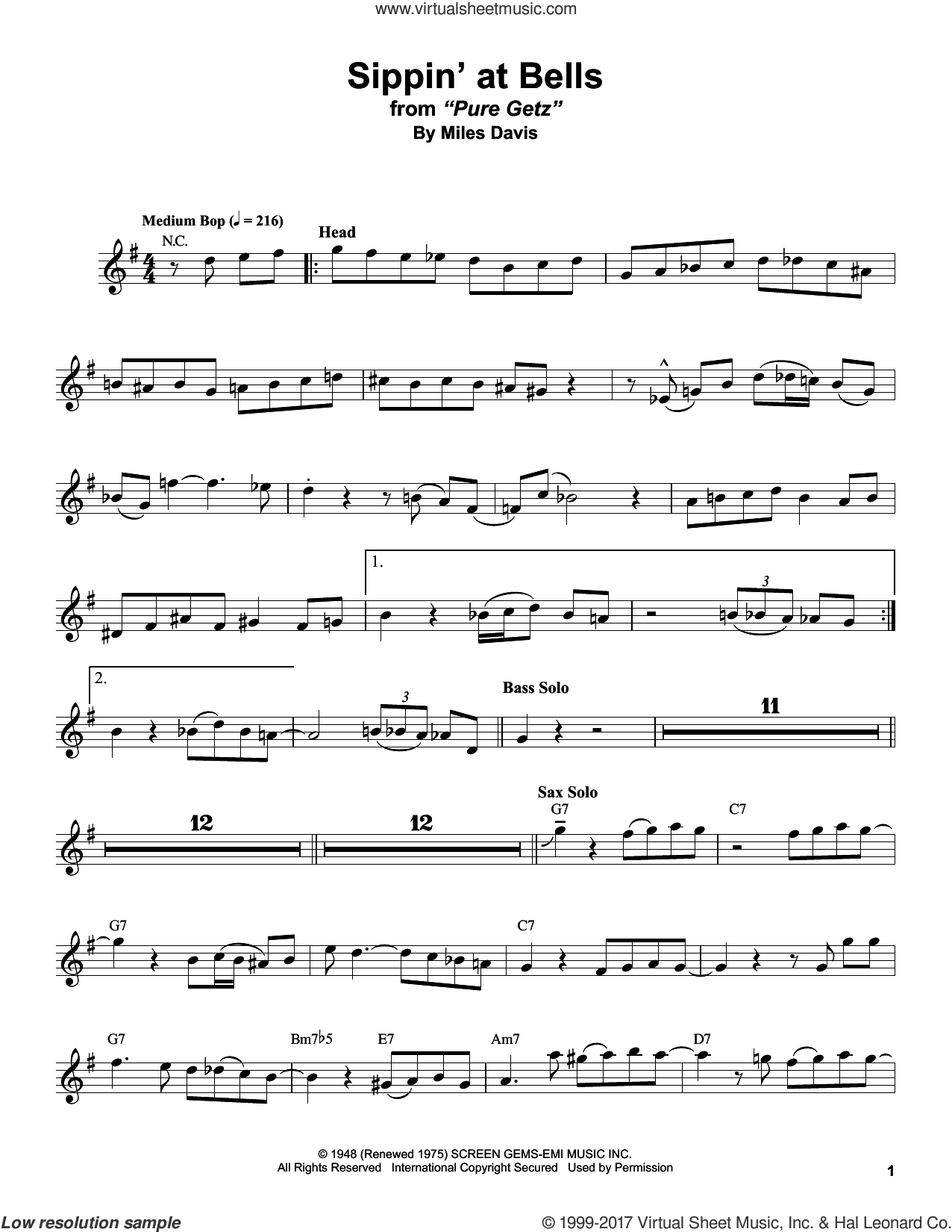 Sippin' At Bells sheet music for tenor saxophone solo (transcription) by Stan Getz and Miles Davis, intermediate tenor saxophone (transcription)