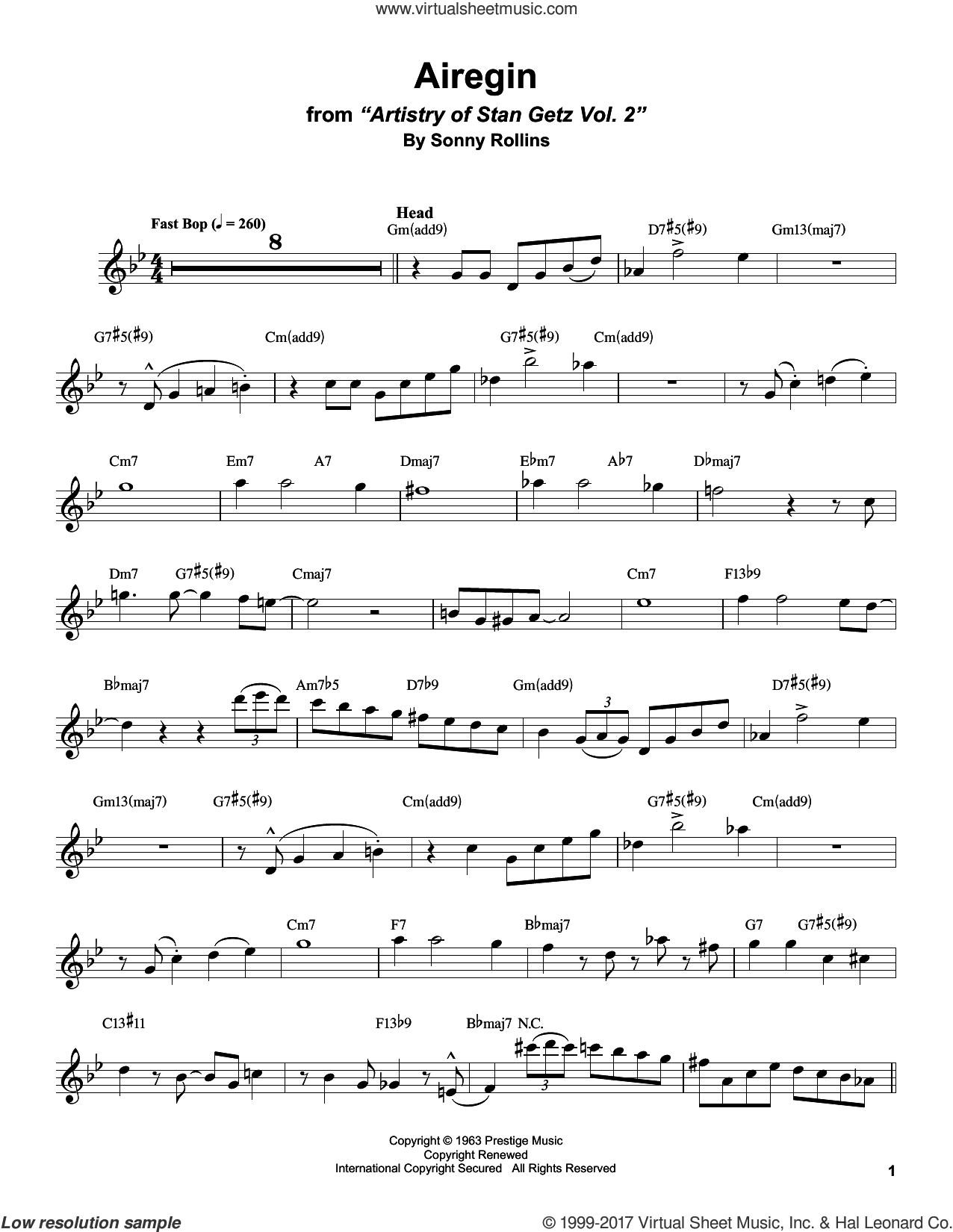 Airegin sheet music for tenor saxophone solo (transcription) by Stan Getz, John Coltrane and Sonny Rollins, intermediate tenor saxophone (transcription)