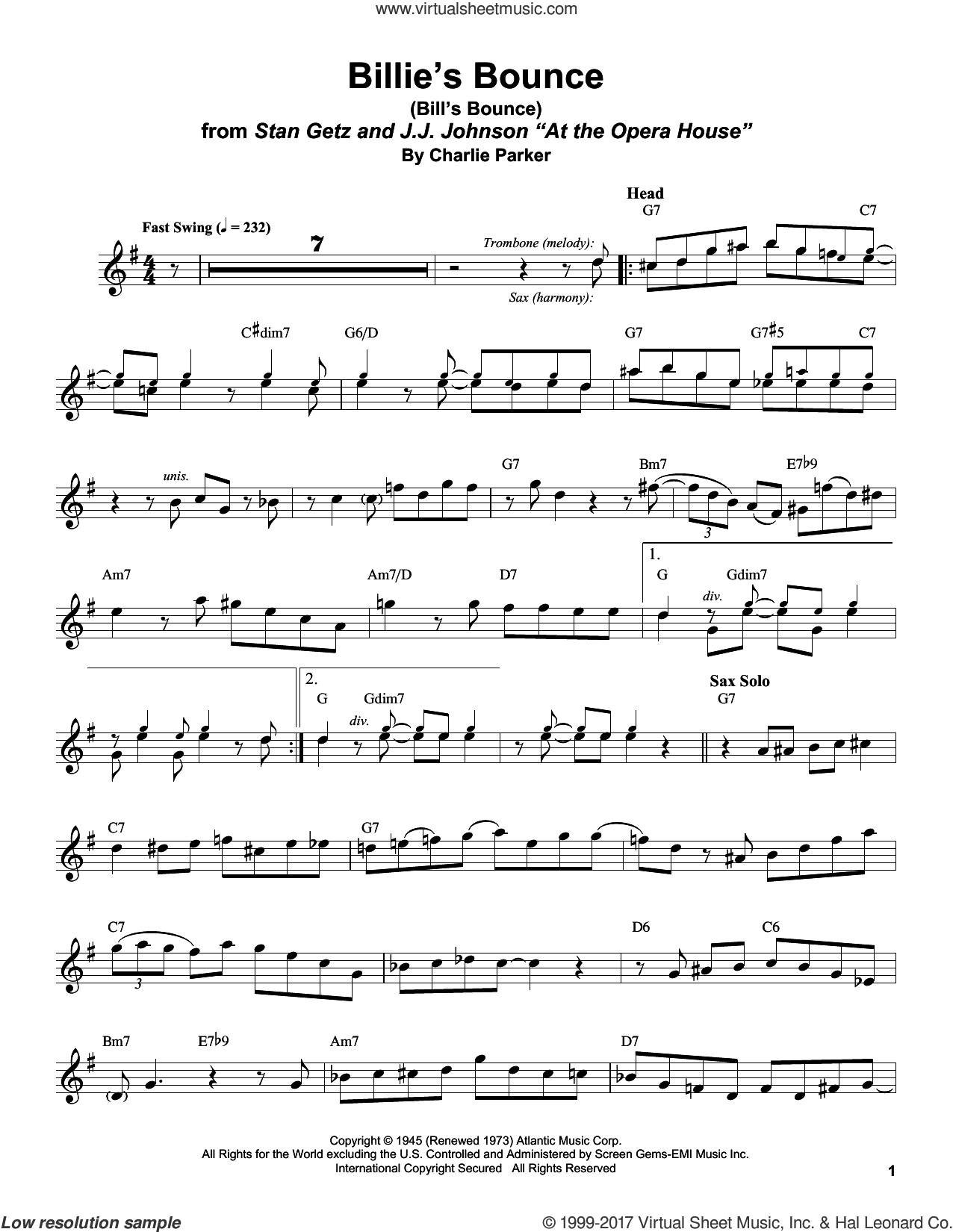 Billie's Bounce (Bill's Bounce) sheet music for tenor saxophone solo (transcription) by Stan Getz and Charlie Parker, intermediate tenor saxophone (transcription)
