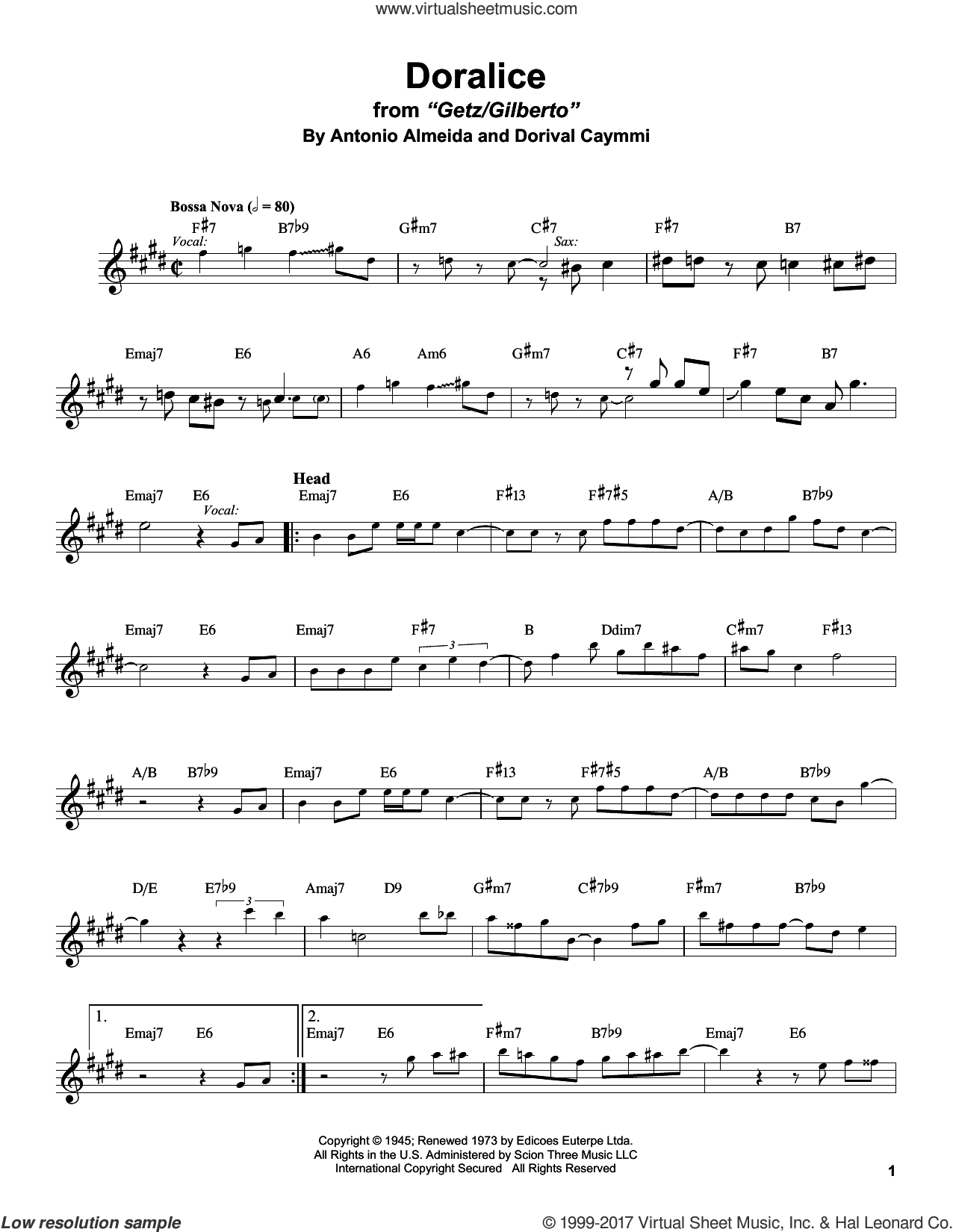 Doralice sheet music for tenor saxophone solo (transcription) by Stan Getz. Score Image Preview.
