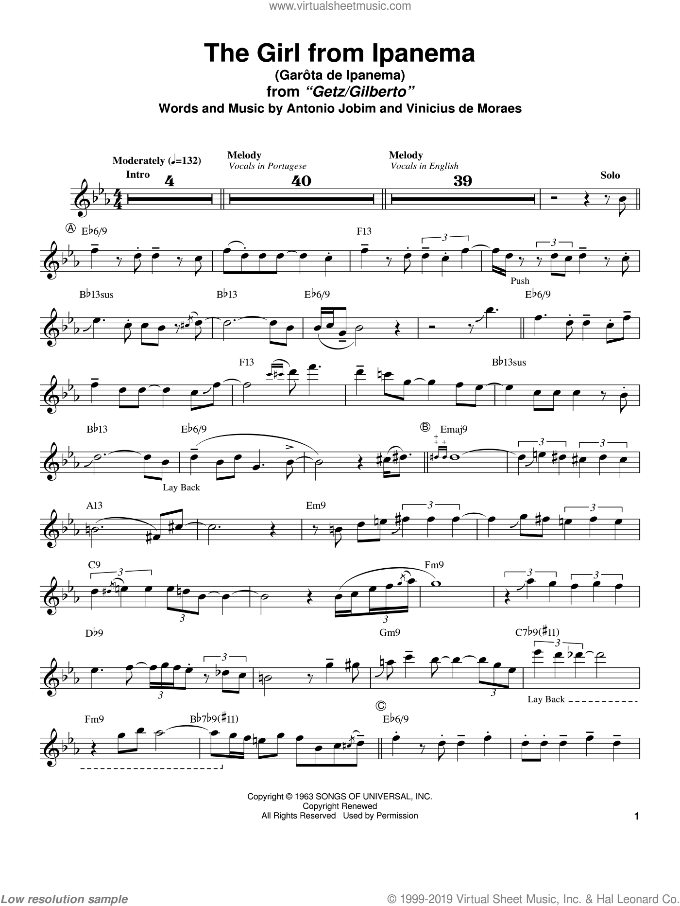Garota De Ipanema sheet music for tenor saxophone solo (transcription) by Stan Getz, Antonio Jobim and Vinicius de Moraes, intermediate tenor saxophone (transcription). Score Image Preview.