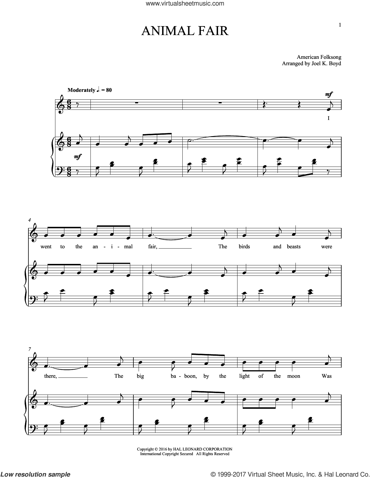 Animal Fair sheet music for voice and piano by American Folksong, intermediate skill level