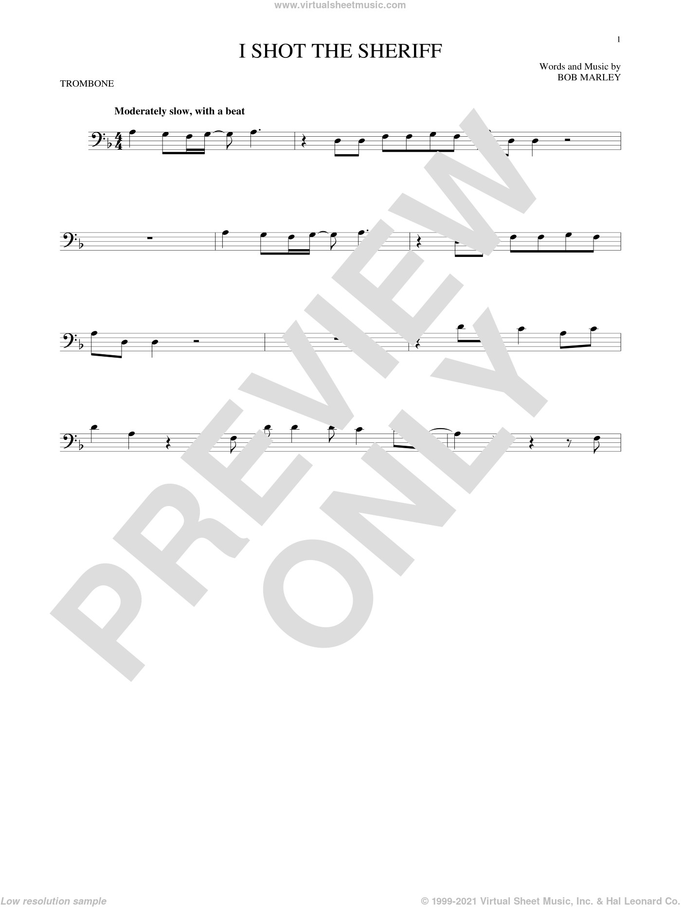 I Shot The Sheriff sheet music for trombone solo by Bob Marley, Eric Clapton and Warren G, intermediate skill level