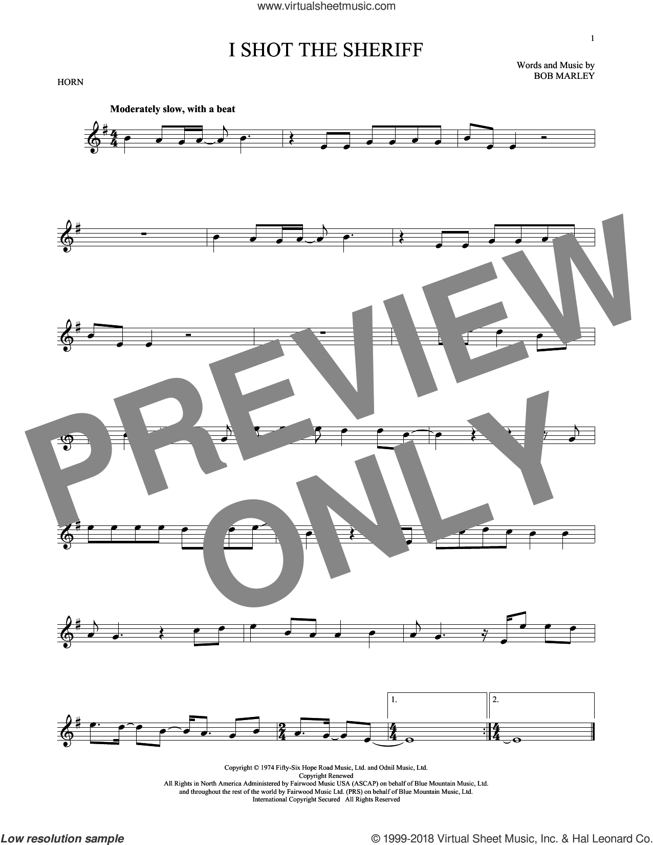 I Shot The Sheriff sheet music for horn solo by Bob Marley, Eric Clapton and Warren G, intermediate skill level