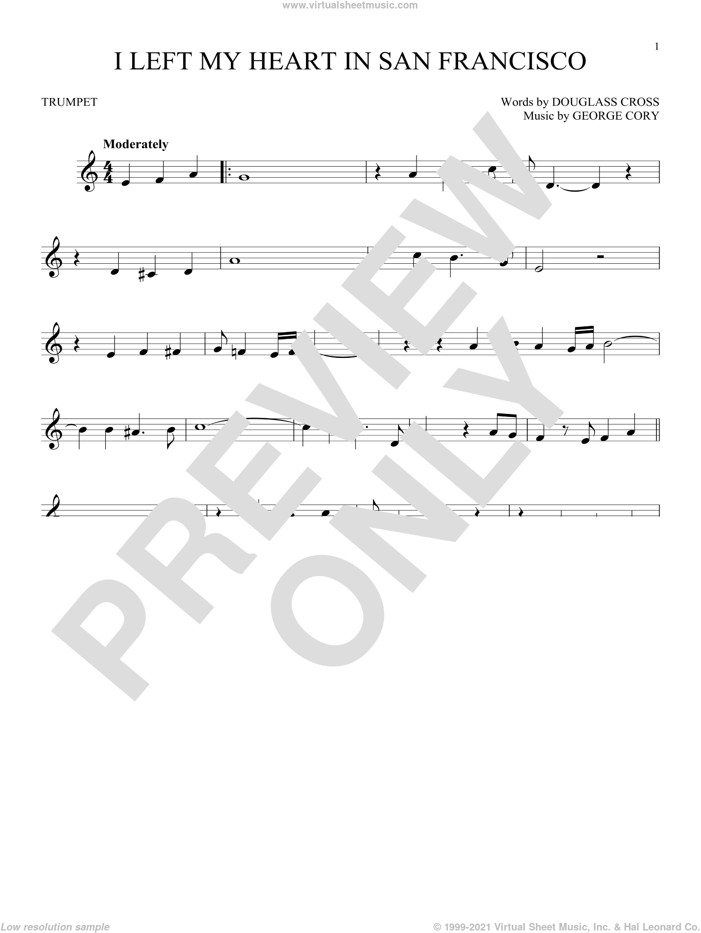 I Left My Heart In San Francisco sheet music for trumpet solo by George Cory, Tony Bennett and Douglass Cross. Score Image Preview.