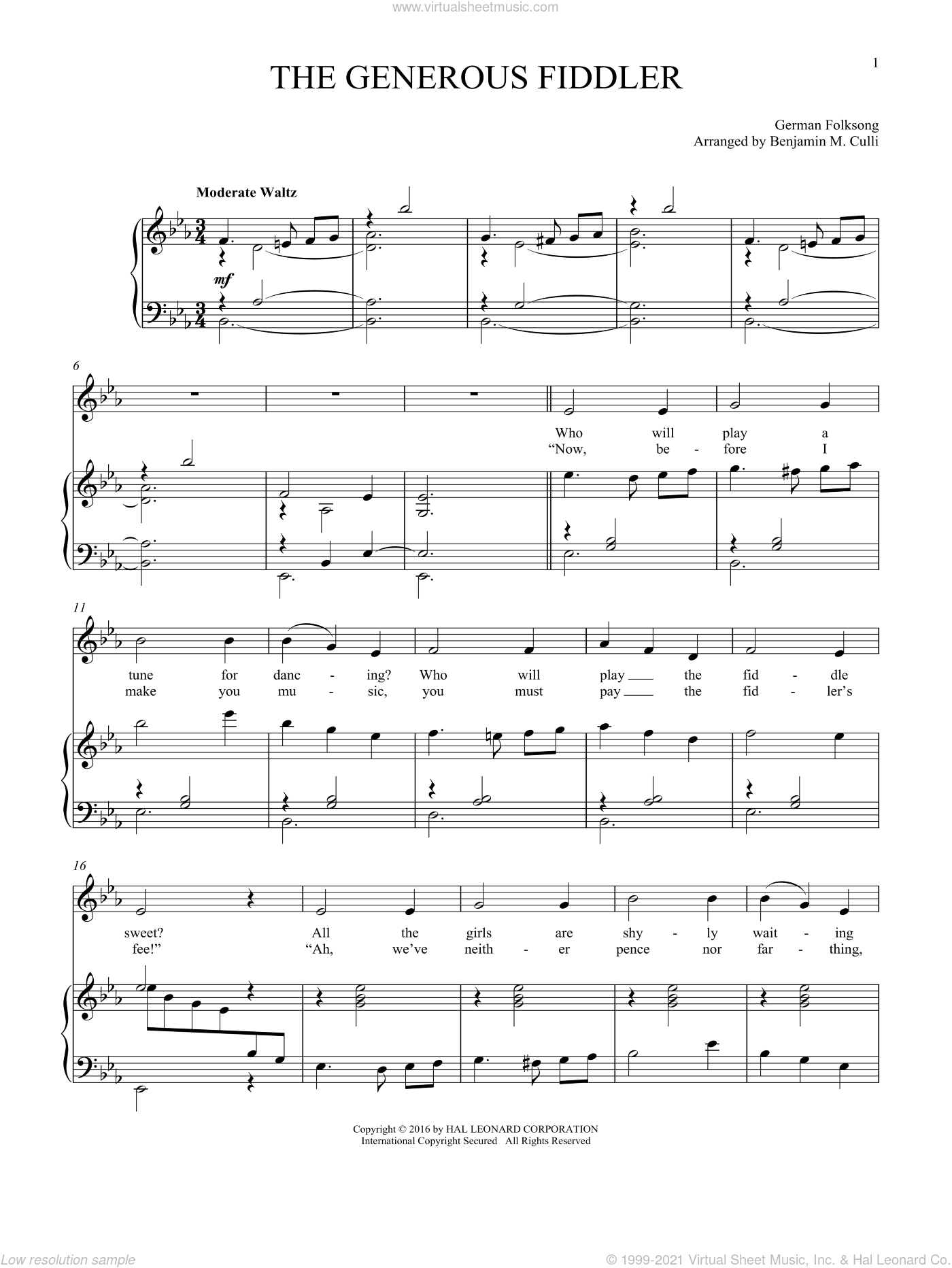 The Generous Fiddler sheet music for voice and piano, intermediate skill level