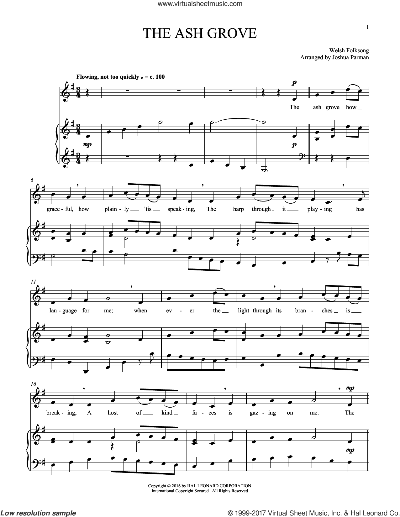 The Ash Grove sheet music for voice and piano by Old Welsh Air, intermediate skill level