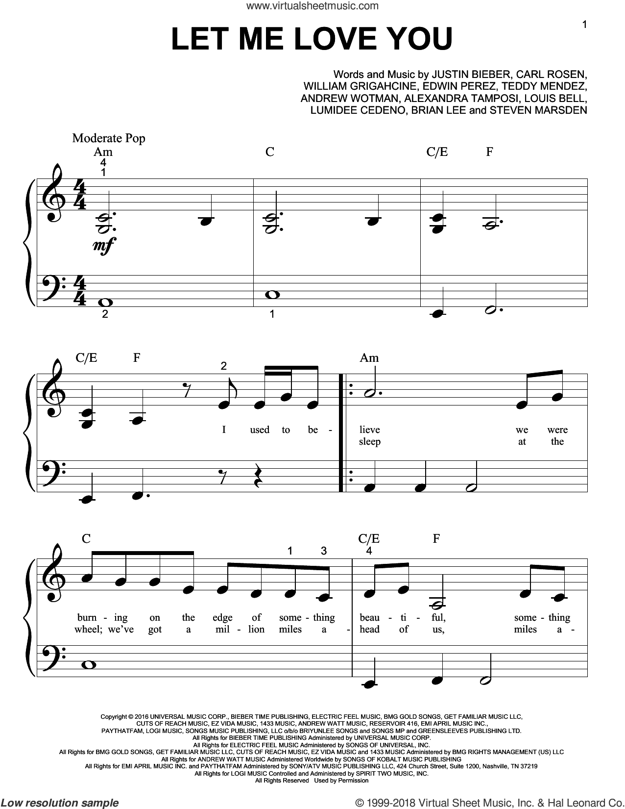 Let Me Love You sheet music for piano solo (big note book) by DJ Snake Feat. Justin Bieber, Brian Lee and Justin Bieber, easy piano (big note book). Score Image Preview.
