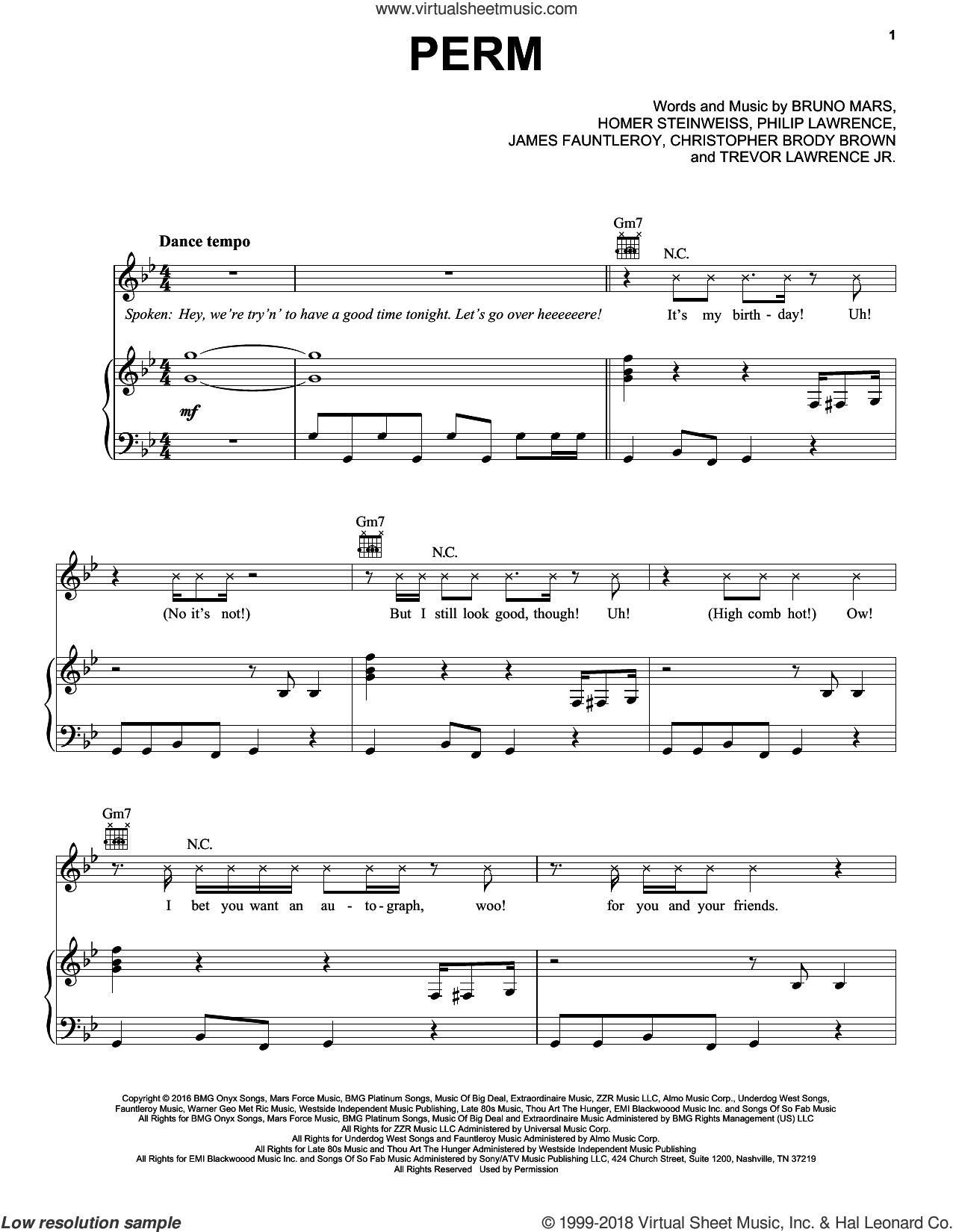 Perm sheet music for voice, piano or guitar by Bruno Mars, James Fauntleroy and Philip Lawrence, intermediate voice, piano or guitar. Score Image Preview.