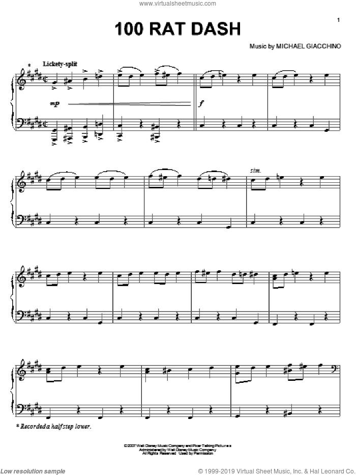 100 Rat Dash sheet music for piano solo by Michael Giacchino and Ratatouille (Movie), intermediate skill level