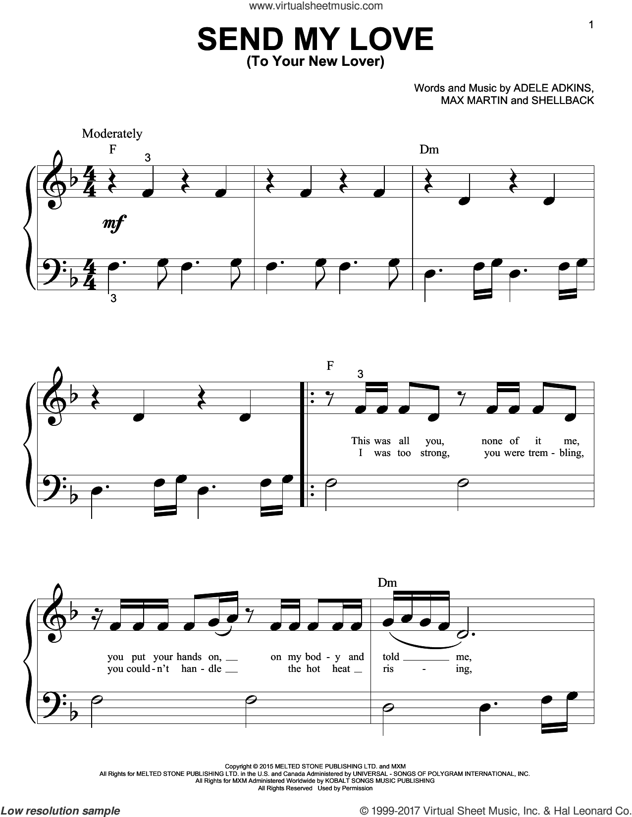 Send My Love (To Your New Lover) sheet music for piano solo (big note book) by Adele, Adele Adkins, Johan Schuster, Max Martin and Shellback, easy piano (big note book)