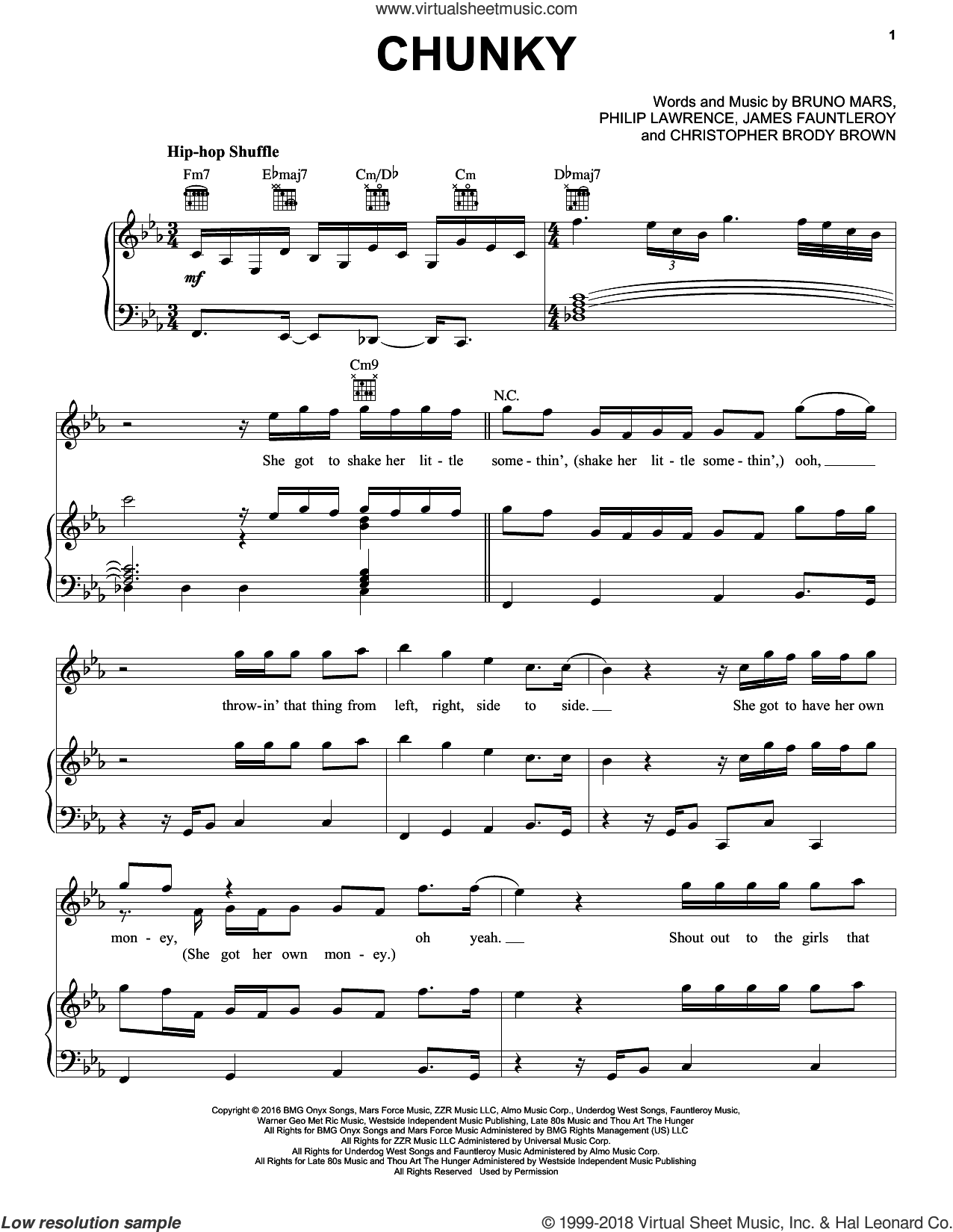 Chunky sheet music for voice, piano or guitar by Bruno Mars, James Fauntleroy and Philip Lawrence. Score Image Preview.